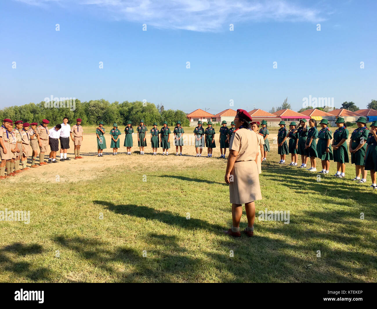 Thai boy scout learn outdoor activities with their teacher out door. December 20, 2017 Hua Hin Thailand - Stock Image