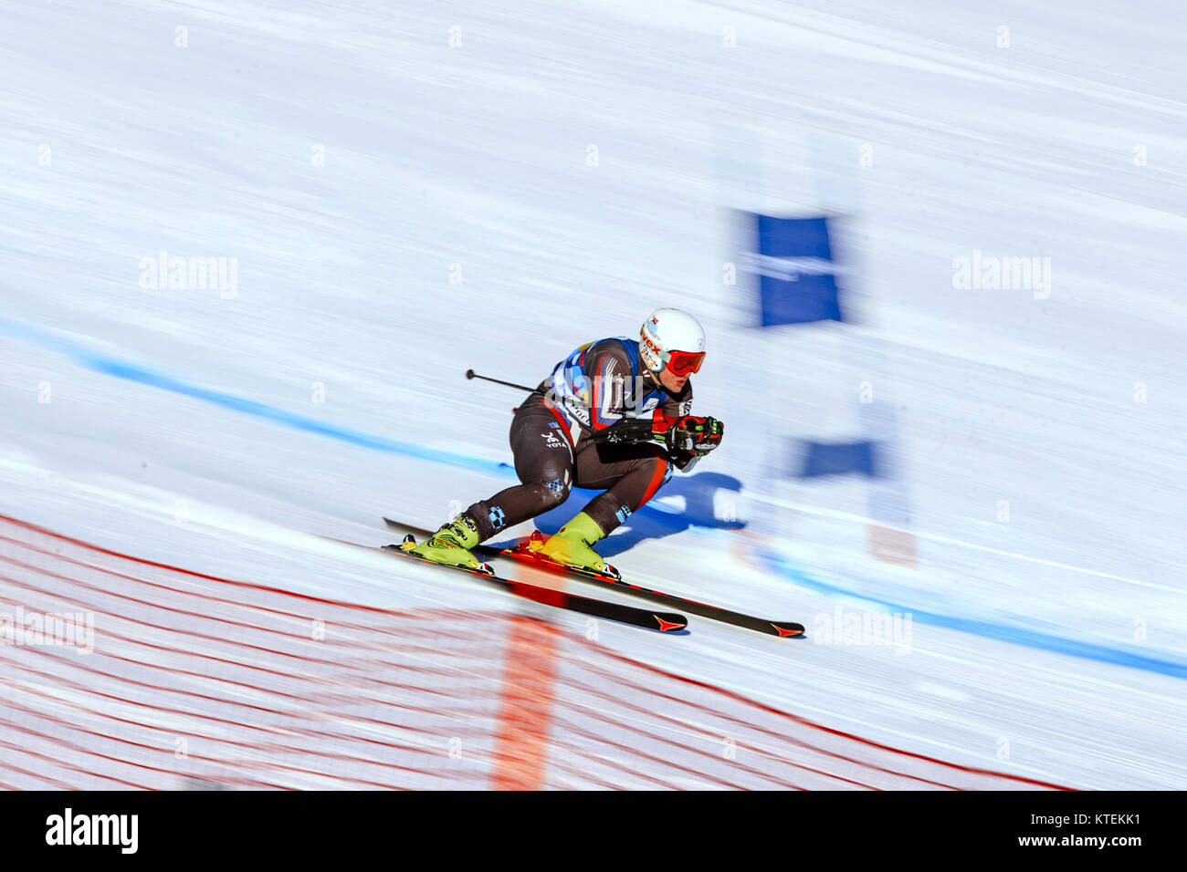 Magnitogorsk, Russia - December 19, 2017: Men super giant slalom during National Cup alpine skiing - Stock Image