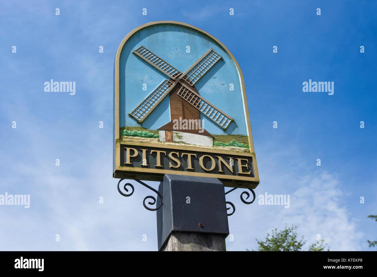 Pitstone village sign, Pitstone, Buckinghamshire, England, United Kingdom - Stock Image