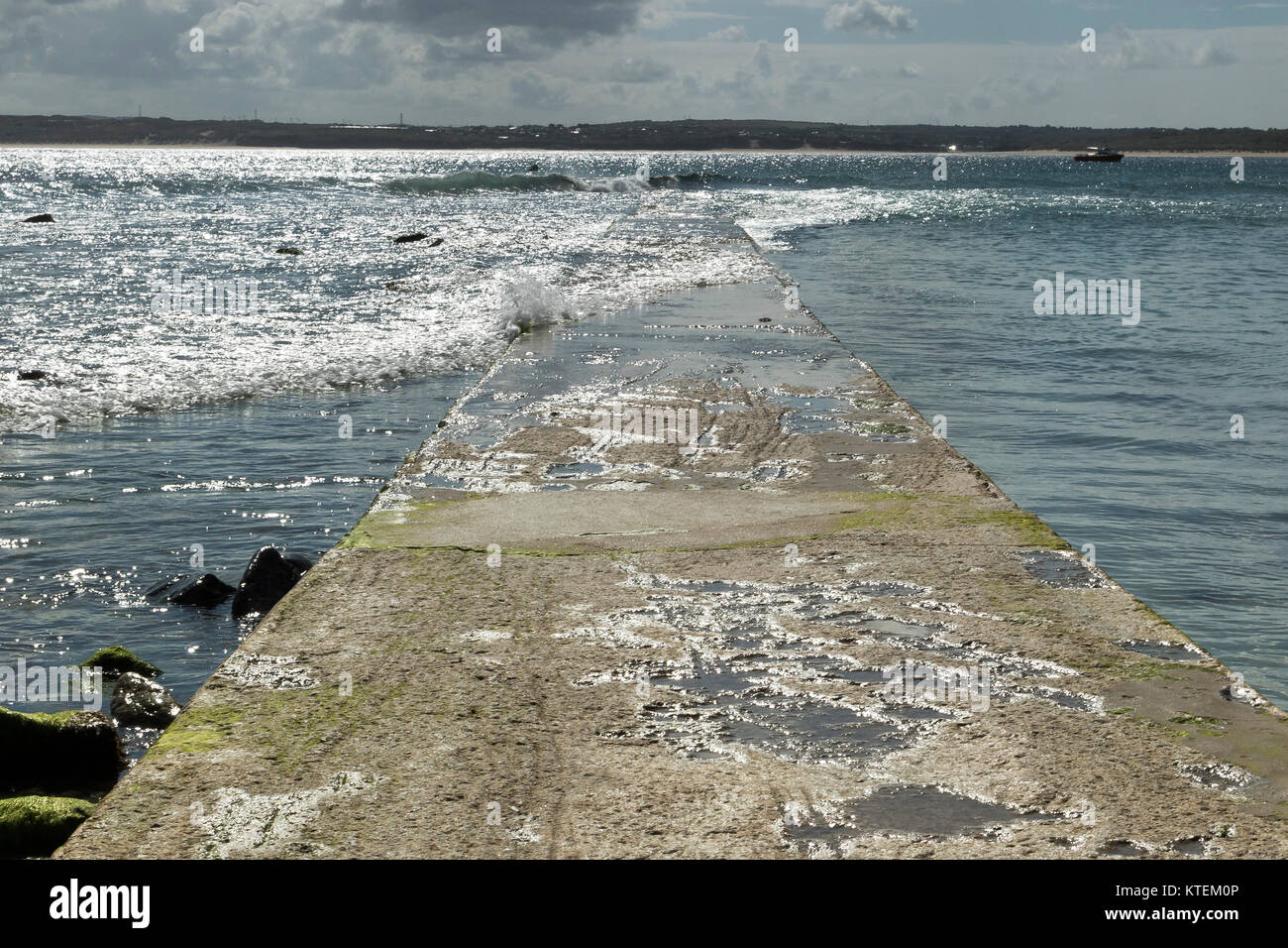 St. Ives Cornwall, Sea Coming Over The Causeway In Summer   Stock Image