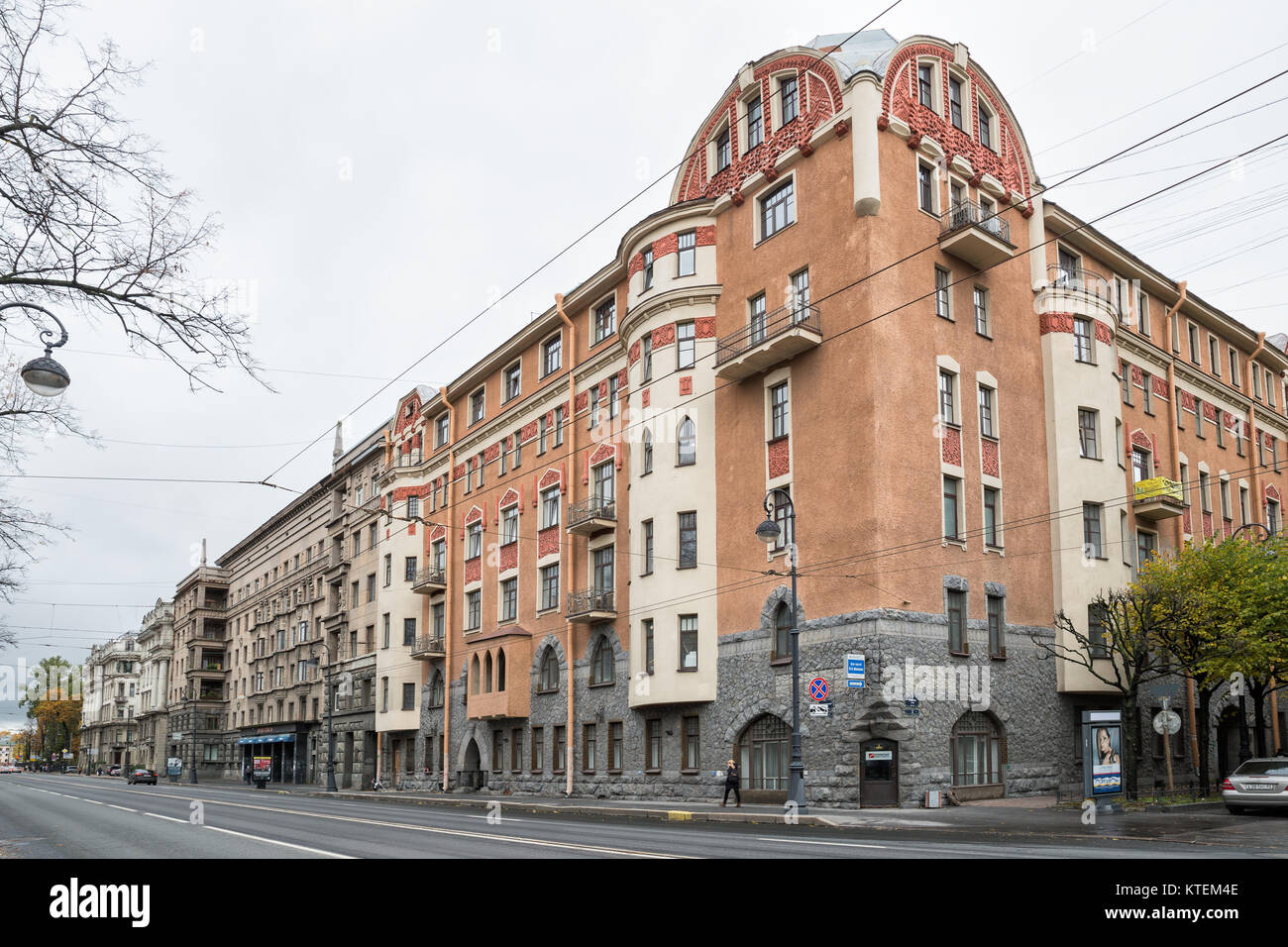 SAINT-PETERSBURG, RUSSIA - OCTOBER 18, 2017: The old building of K.V.Markov's profitable house in the style - Stock Image