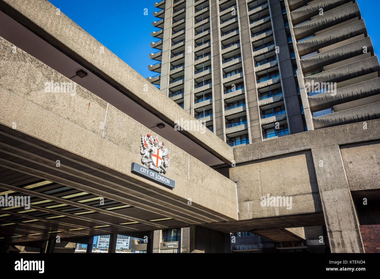 City of London coat of arms at the Barbican Estate, Beech Street, London, UK - Stock Image