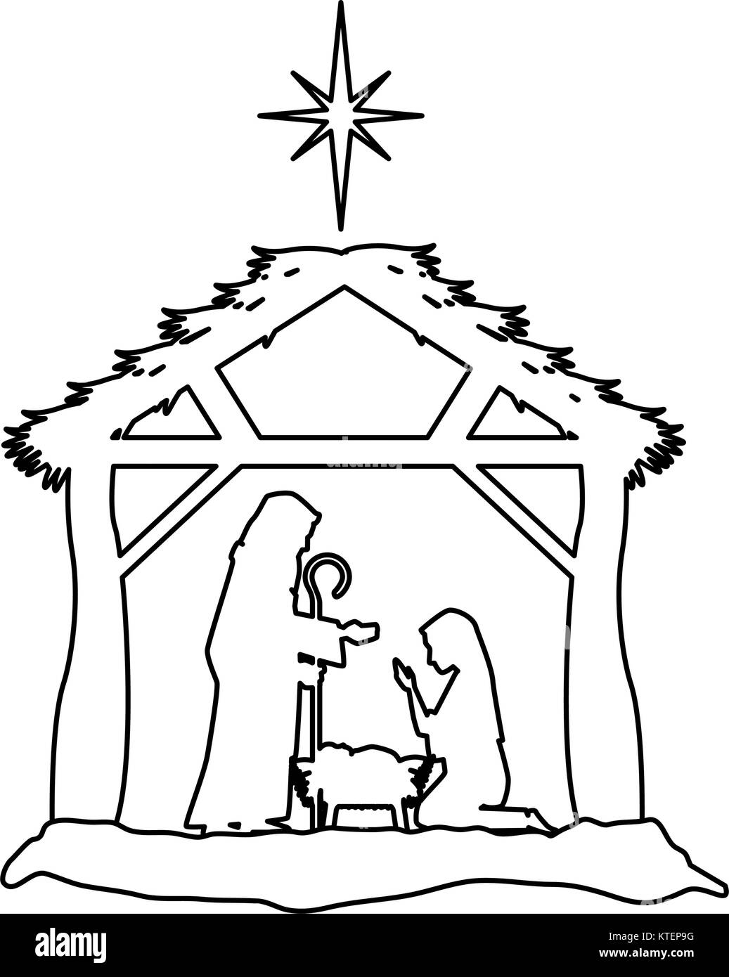 Christmas Stable Drawing.Holy Family Silhouette In Stable Christmas Characters Vector