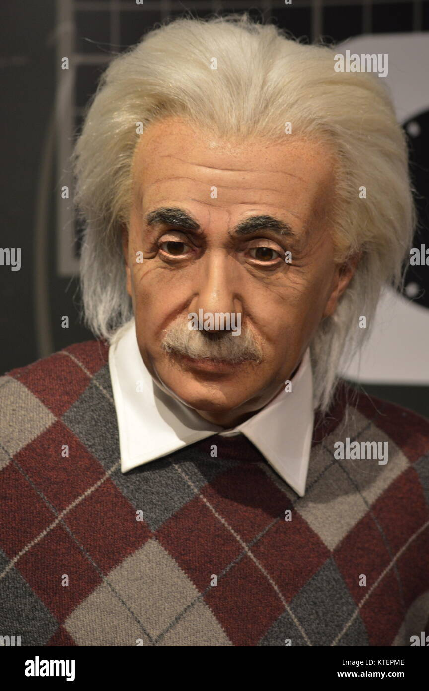New York, USA. 22 Dec, 2017. The wax figure of Albert Einstein on display at Madame Tussauds New York. Credit: Birju - Stock Image