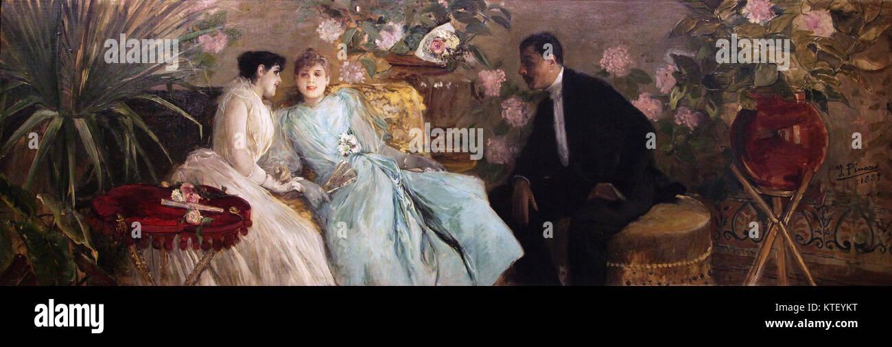 Conversations 1889 by Ignacio pinazo camarlench Valencia Spain - Stock Image