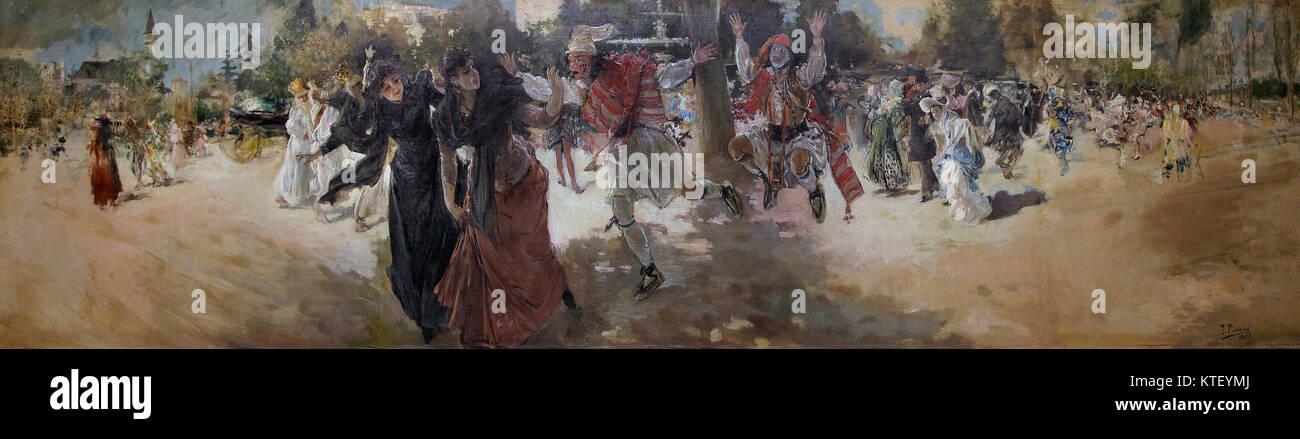 Carnaval at Alameda 1889 by Ignacio Pinazo Camarlench  Valencia Spain - Stock Image