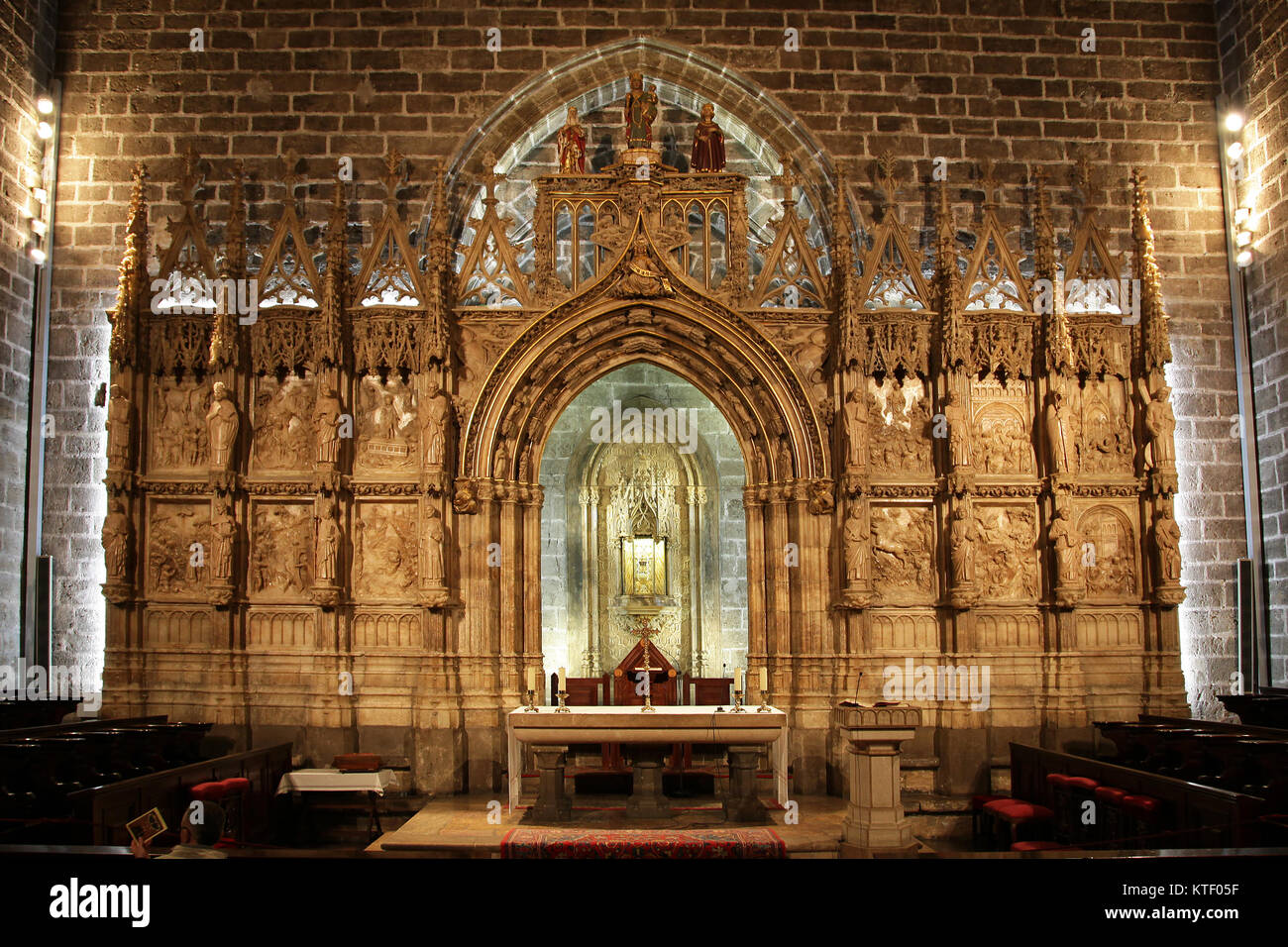 Valencia Cathedral and the holy grail.Saint Chalice chapel.Basilica.Valencia Spain - Stock Image
