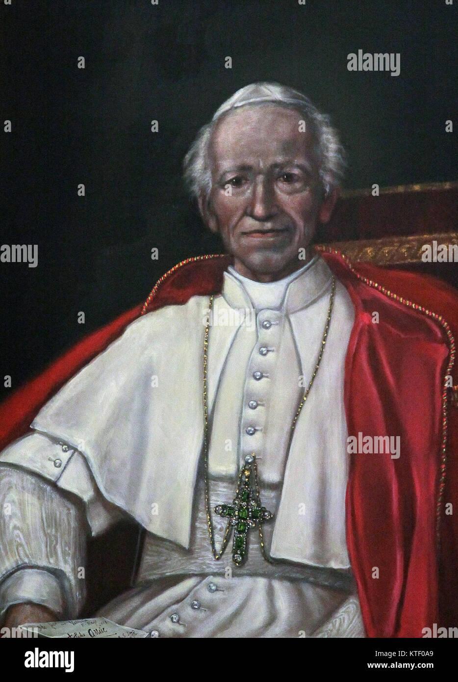 Pope Leo XIII Papa Leo Tertius Decimus painting in the nuestra señora de los desamparados Valencia Spain - Stock Image