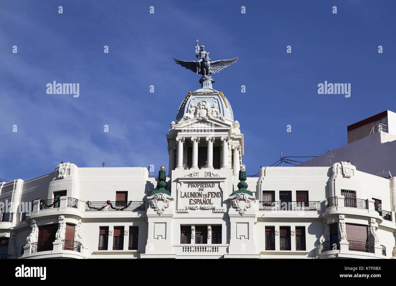 Edificio de la Union y el Fenix Espanol building 1929 by architect Enrique Viedma Vidal Carrer de Xativa Valencia - Stock Image