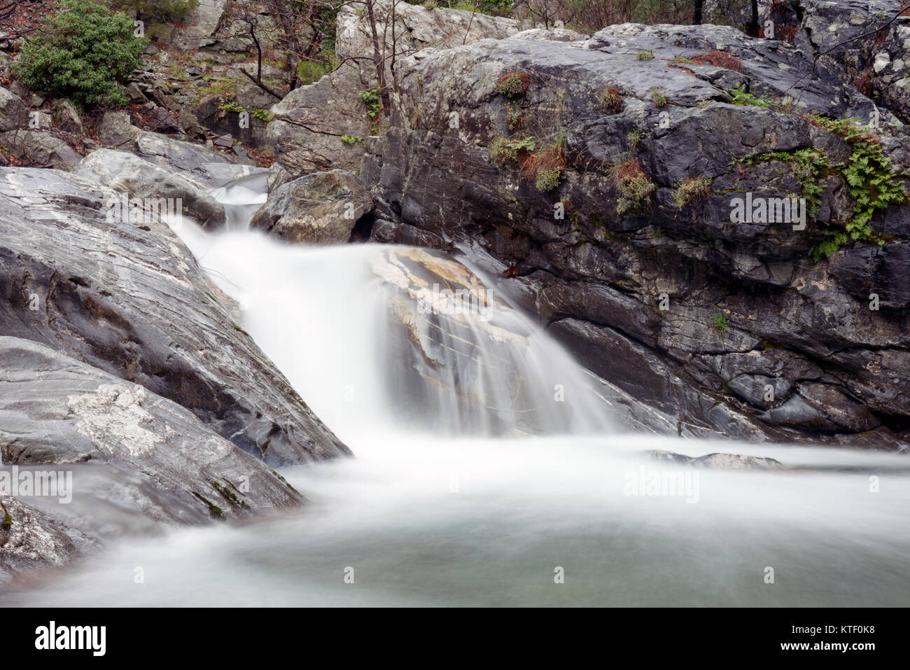 The Hasanboguldu river and waterfalls in Edremit district of Balikesir province of Turkey. - Stock Image