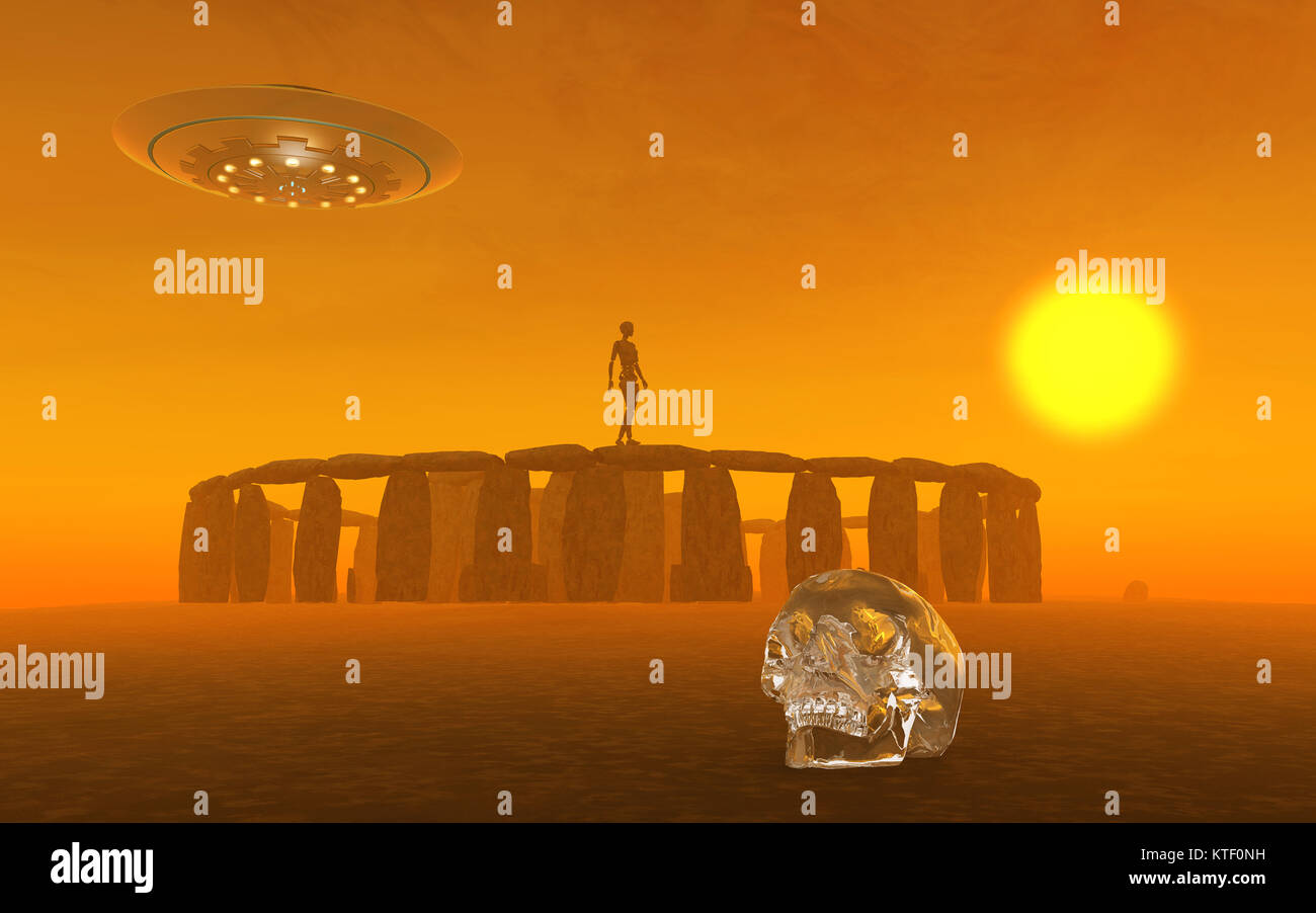 A Crystal Skull & Ancient Aliens - Stock Image