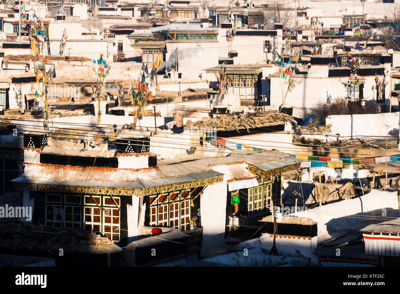 Traditional Tibetan dwellings at Shigatse, Tibet - Stock Image