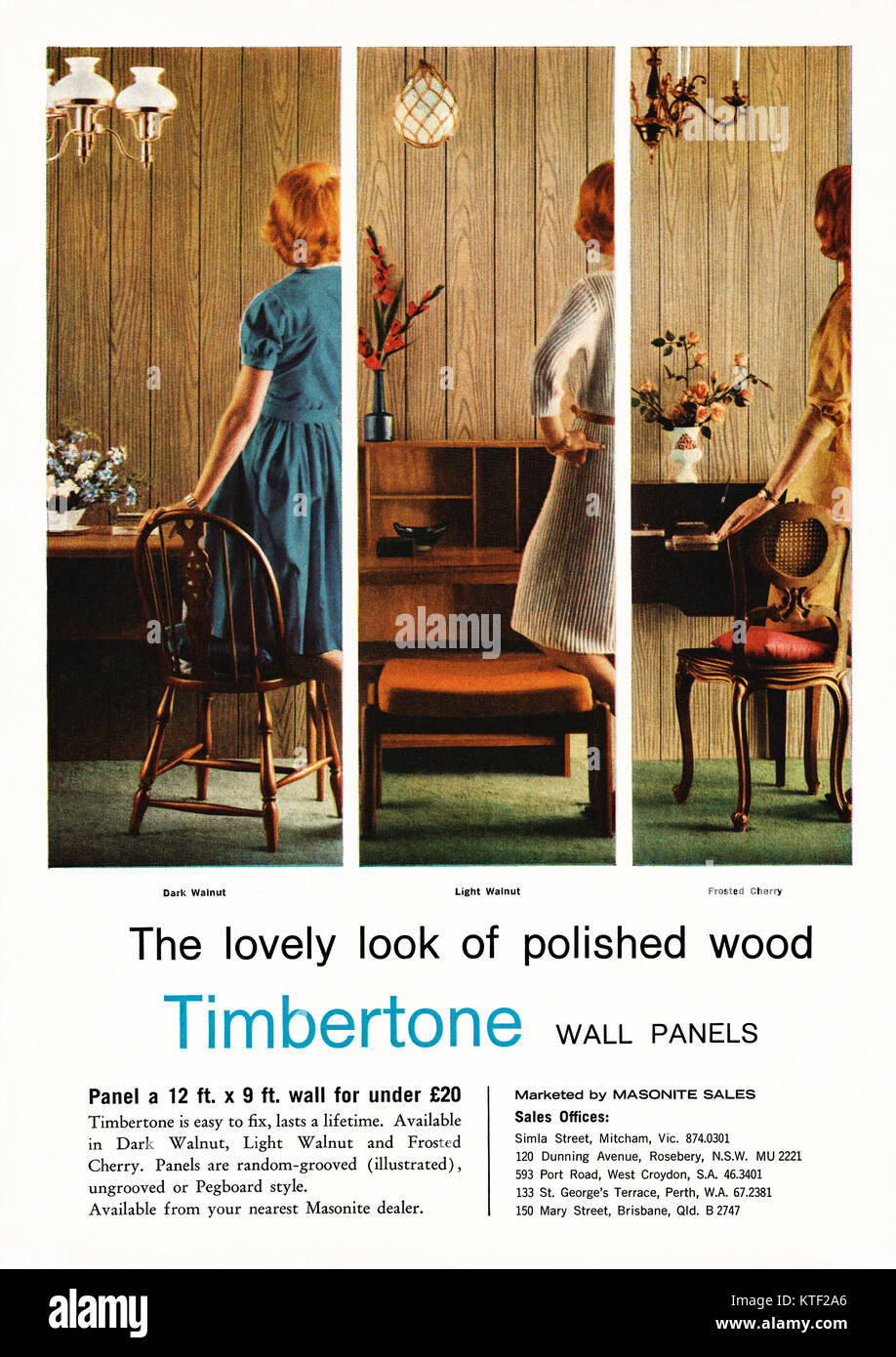 An advert for Timbertone polished wood wall panels - it appeared in an Australian magazine in 1962. It features - Stock Image