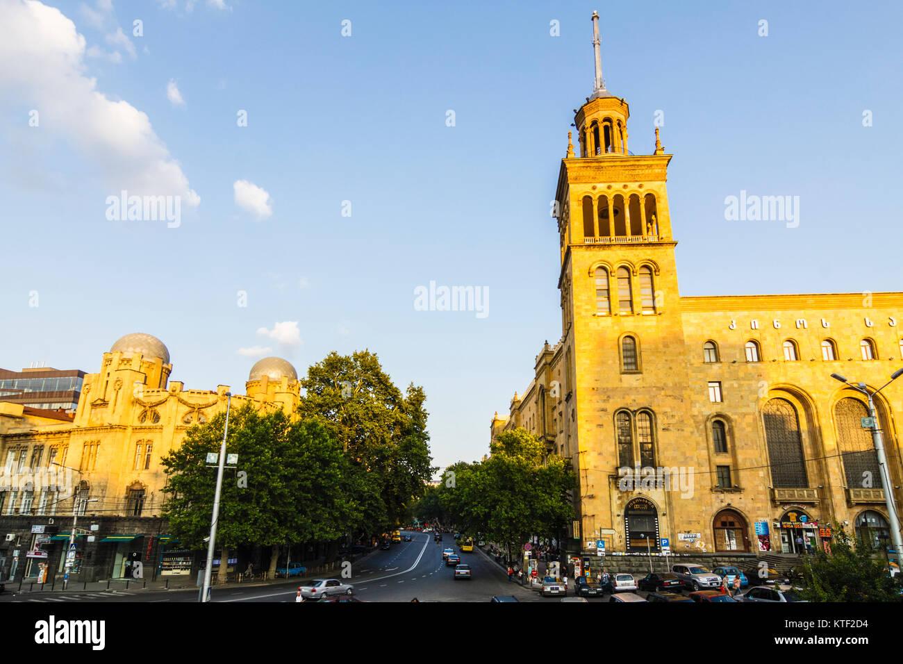Georgian National Academy of Sciences on Rustaveli Avenue, Tbilisi, Georgia Stock Photo