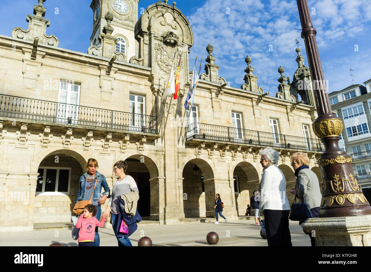 People by the Baroque 18th c. City Hall building at Praza Maior square in Lugo city, Galicia, Spain, Europe - Stock Image