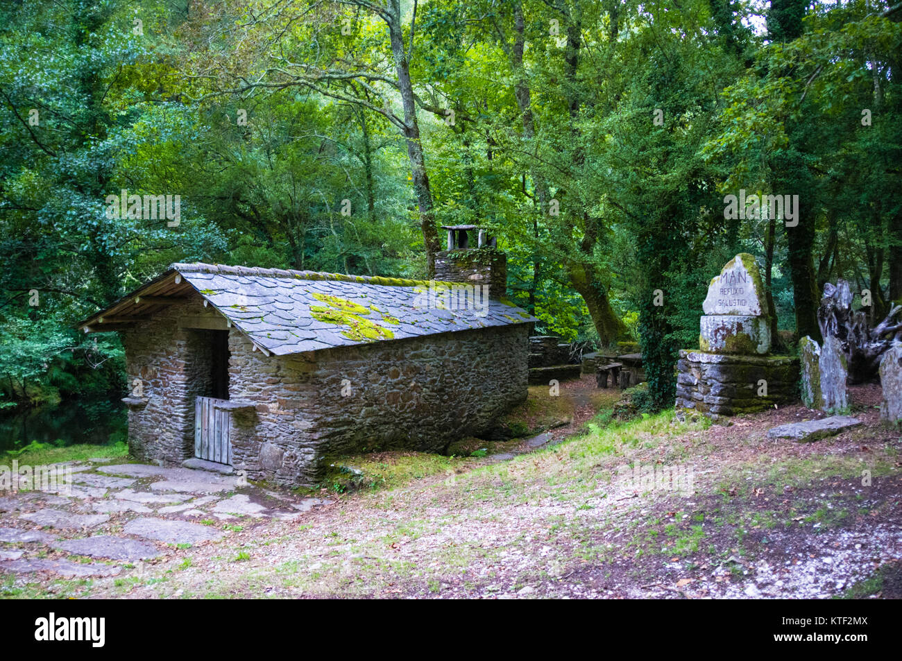 Shelter cabin at a dense Galician native forest by the river Sor. Ponte Segade, Lugo province, Galicia, Spain, Europe - Stock Image