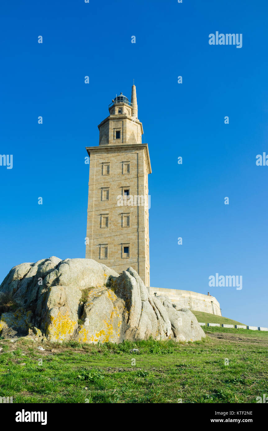 Tower of Hercules, Roman lighthouse, Coruña city, Galicia, Spain - Stock Image