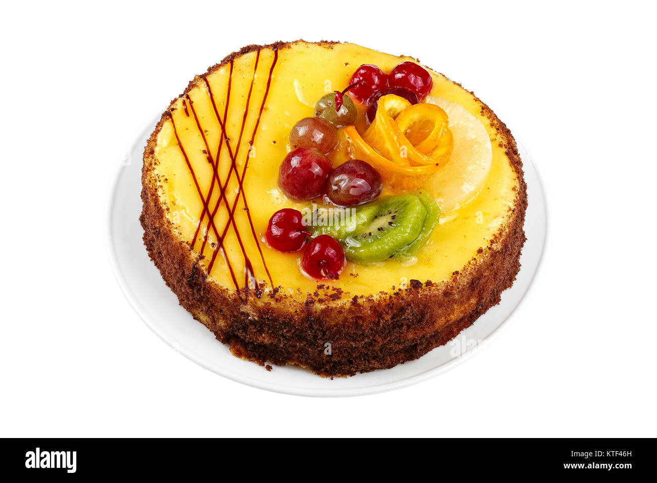 delicious birthday cake, cream cake with cherries, oranges and chocolate, space for text on wite background - Stock Image