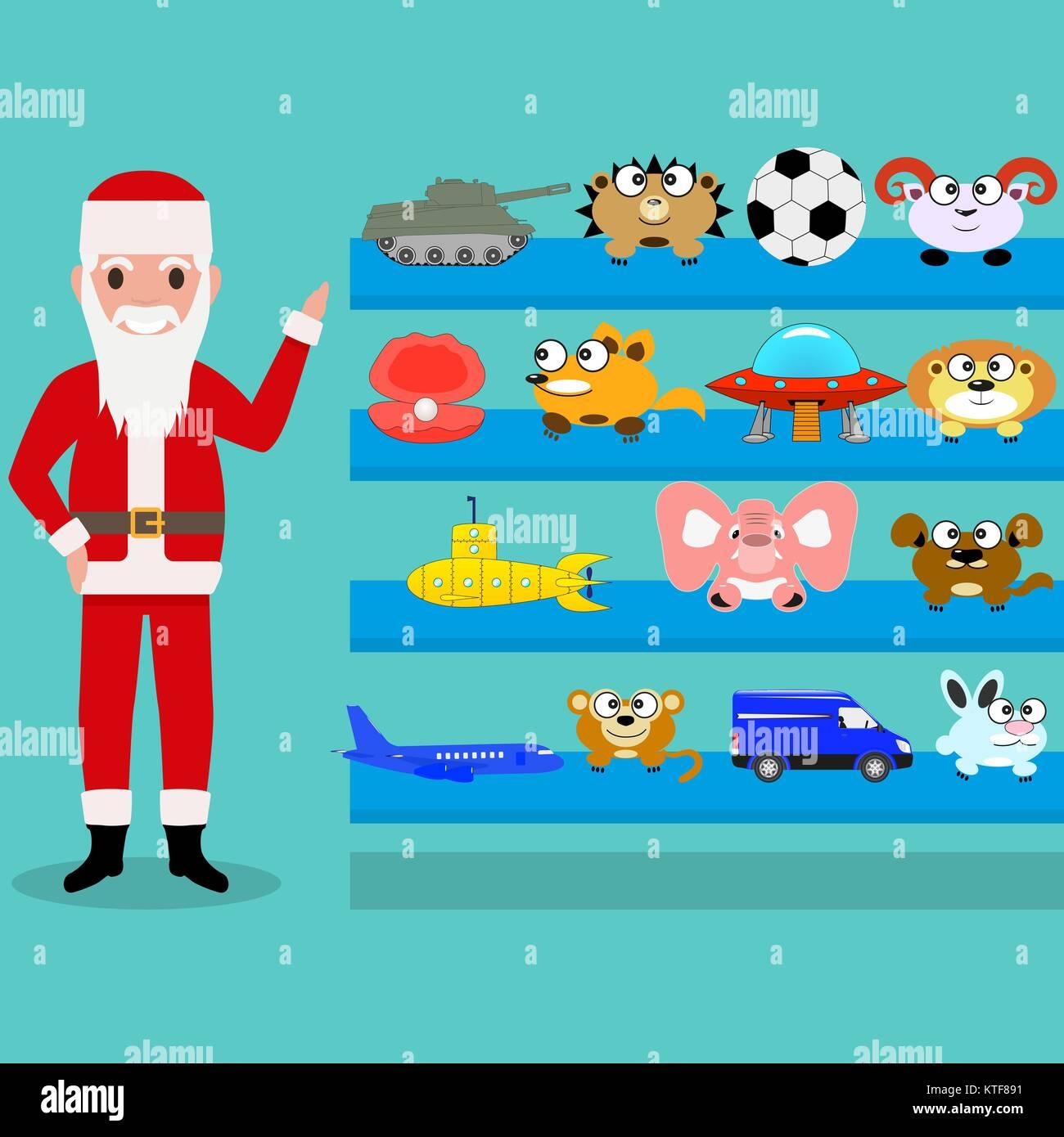 Cartoon Santa Claus shows the toys on the shelf - Stock Image