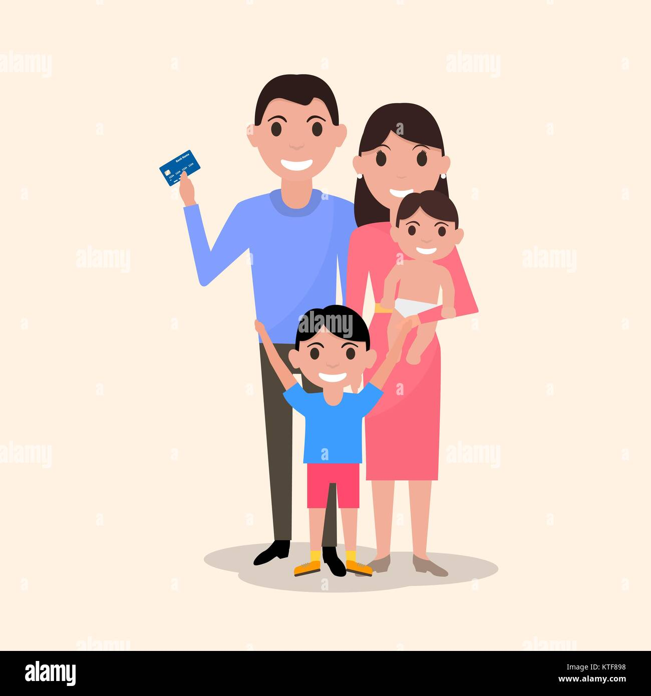 Vector happy family with a plastic credit card - Stock Image