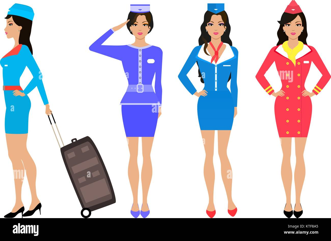 Set Beautiful Stewardess Air Hostess In Uniform Stock Vector Art