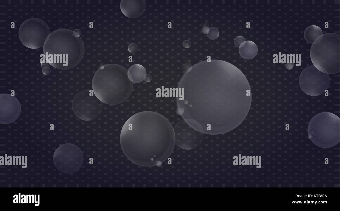 Transparent bubbles and drops of water. - Stock Vector