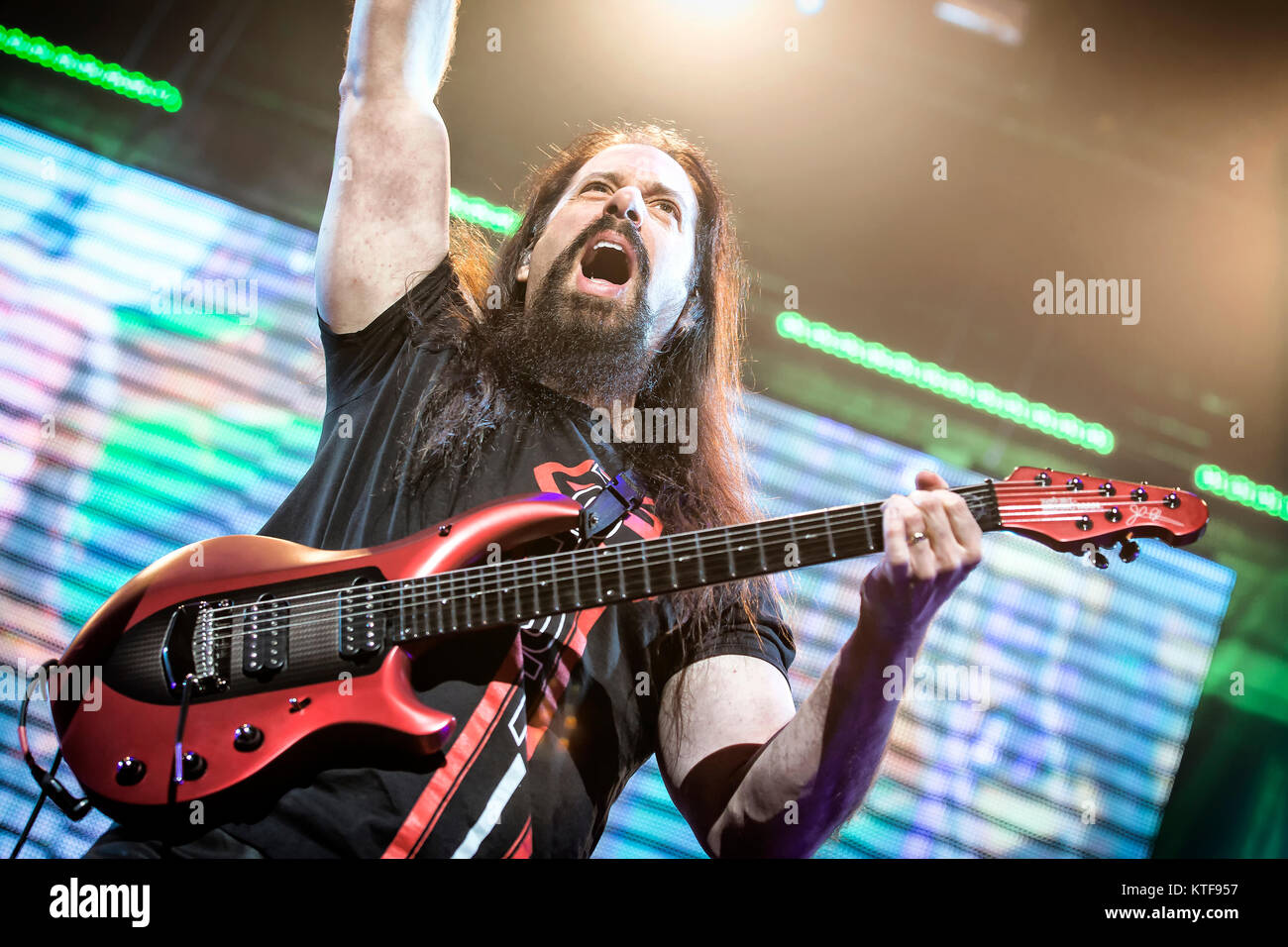 The American progressive metal band Dream Theater performs a live concert at Oslo Spektrum. Here guitarist John - Stock Image