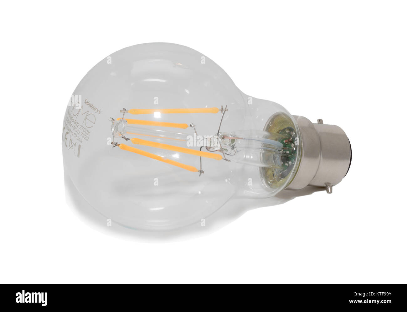 Sainsbury's 7W dimmable LED filament light bulb, B22 bayonet fit, England, UK - Stock Image