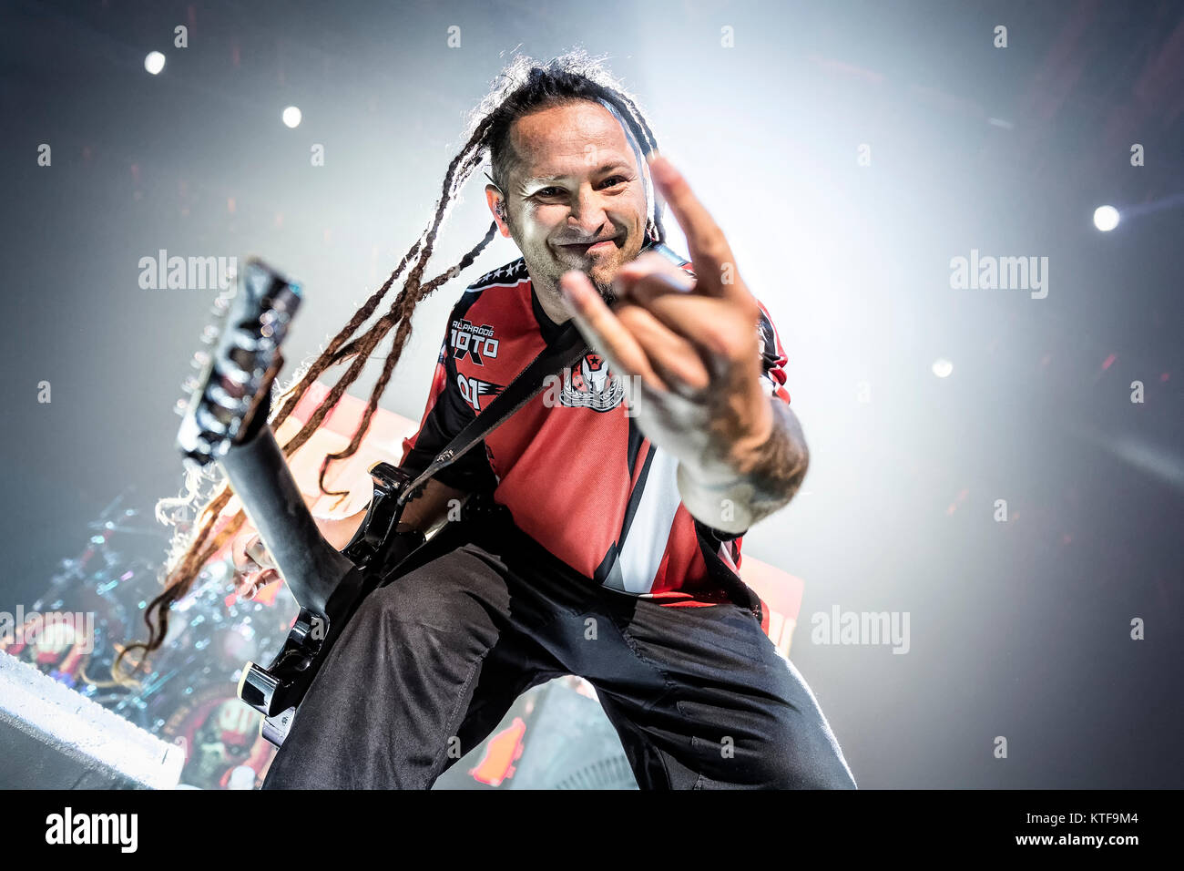 Five Finger Death Punch The American Heavy Band Performs A Live Concert At Spektrum In Oslo Here Musician Zoltan Bathory On Guitar Is Seen Stage