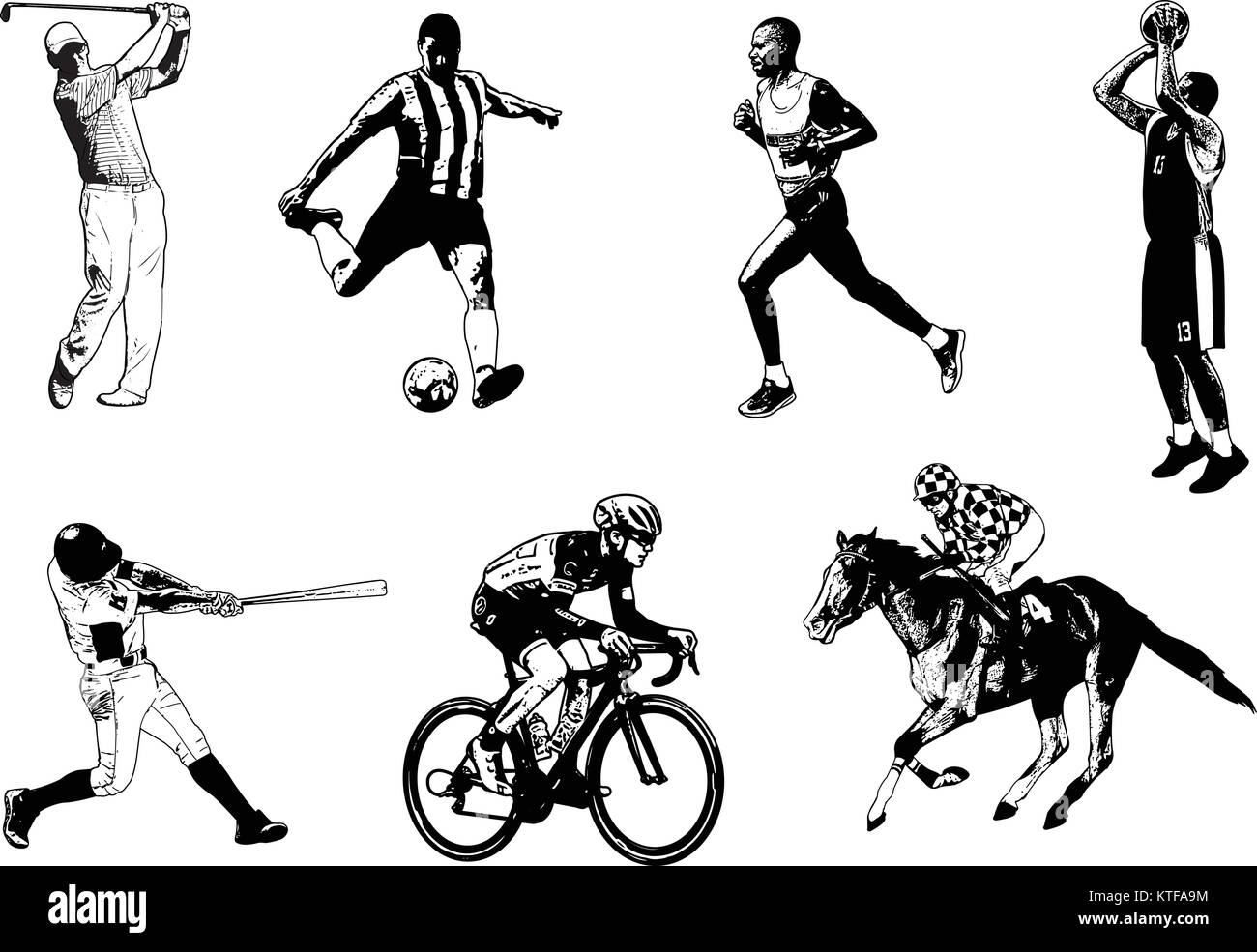 Various sports sketch illustration - vector - Stock Image