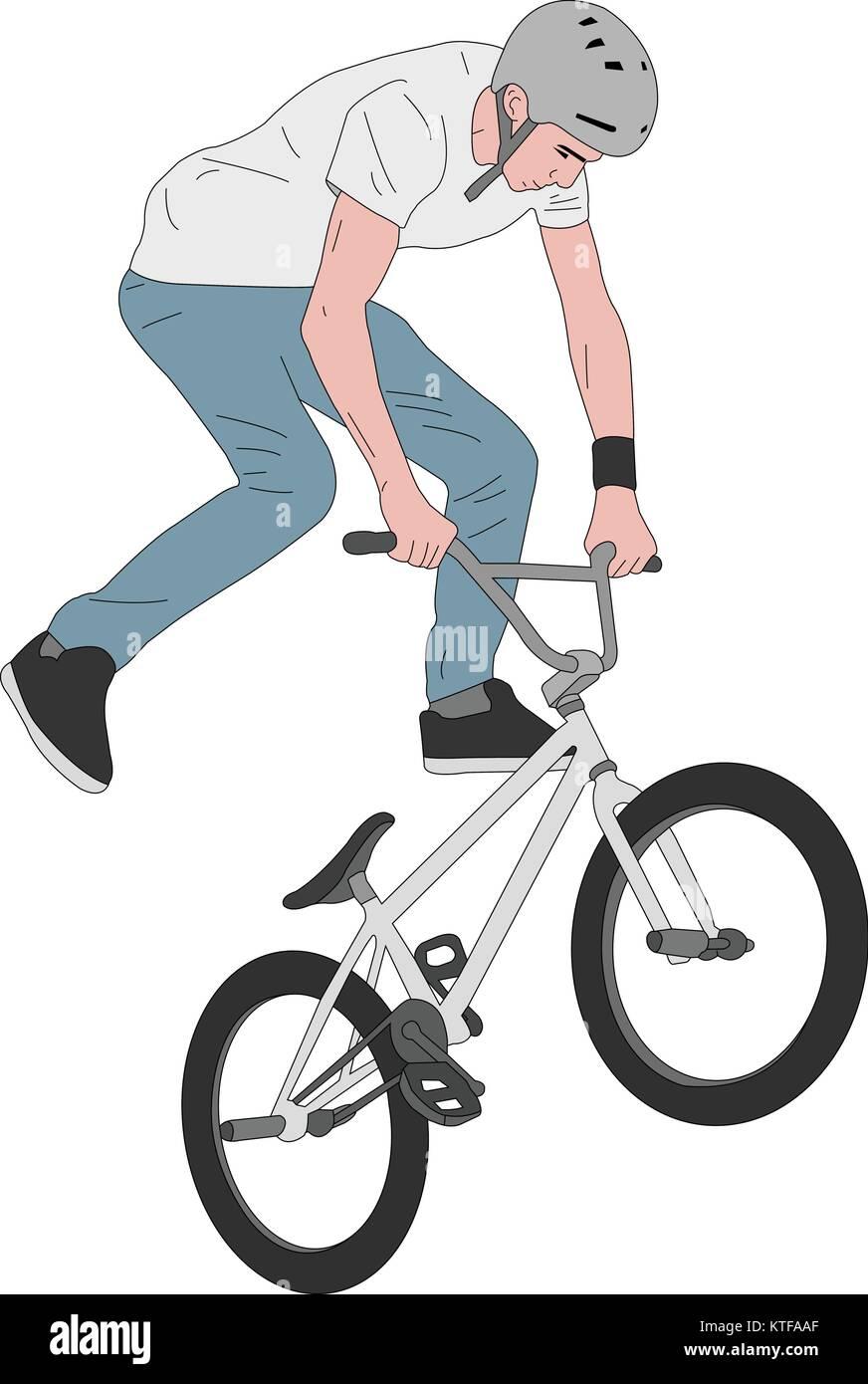 bmx stunt bicyclist illustration - vector - Stock Vector