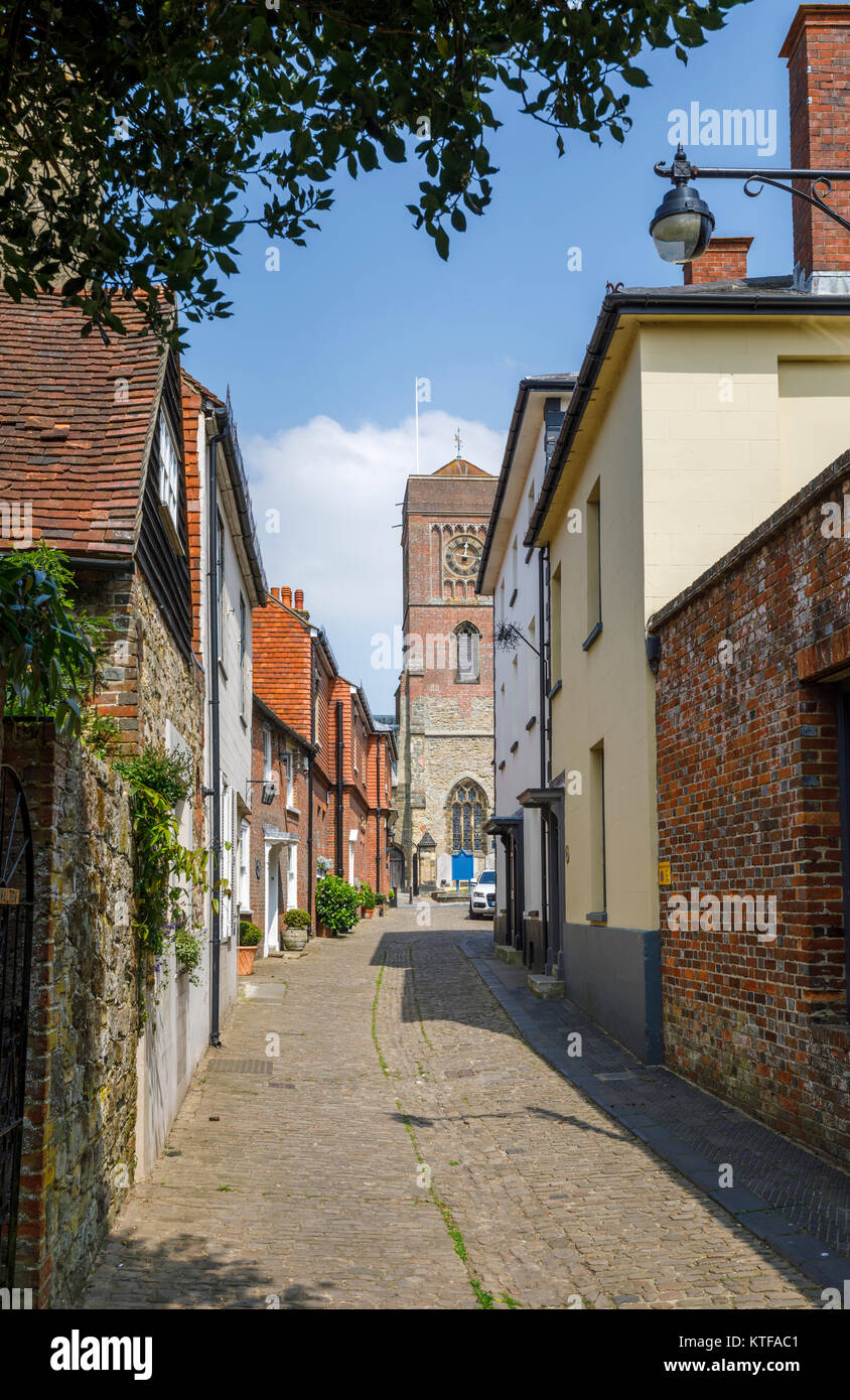 Lombard Street, a quaint, old-fashioned narrow cobbled alley, Petworth town centre, a small town and antiques centre in West Sussex, southeast England Stock Photo