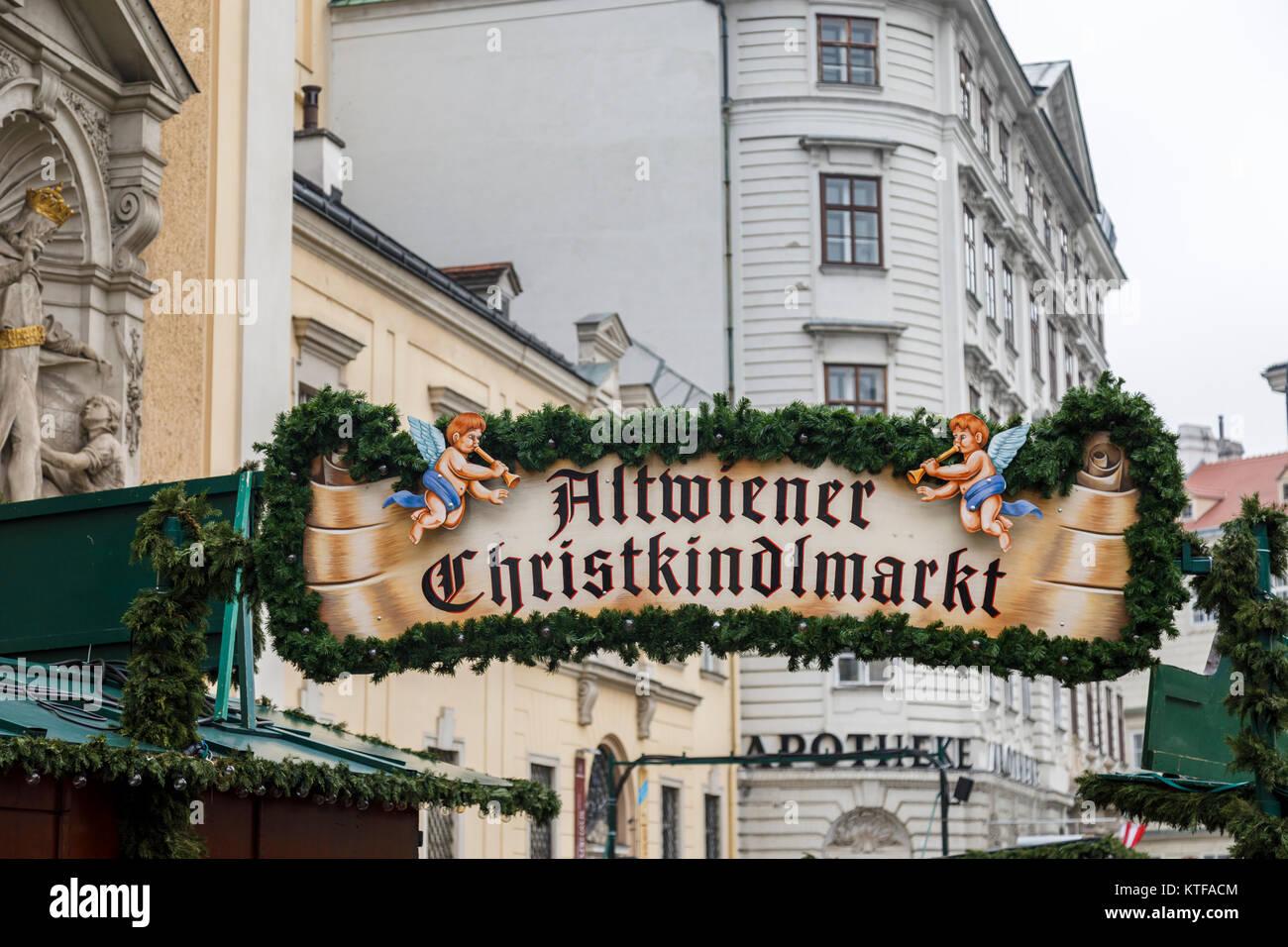 Entrance sign at the traditional festive season Altwiener Christkindlmarkt, an old Vienna Christmas Market, Freyung, - Stock Image