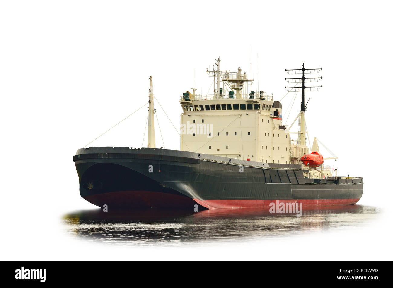 Nuclear-powered icebreaker is sea transport for cleavage of ice. - Stock Image