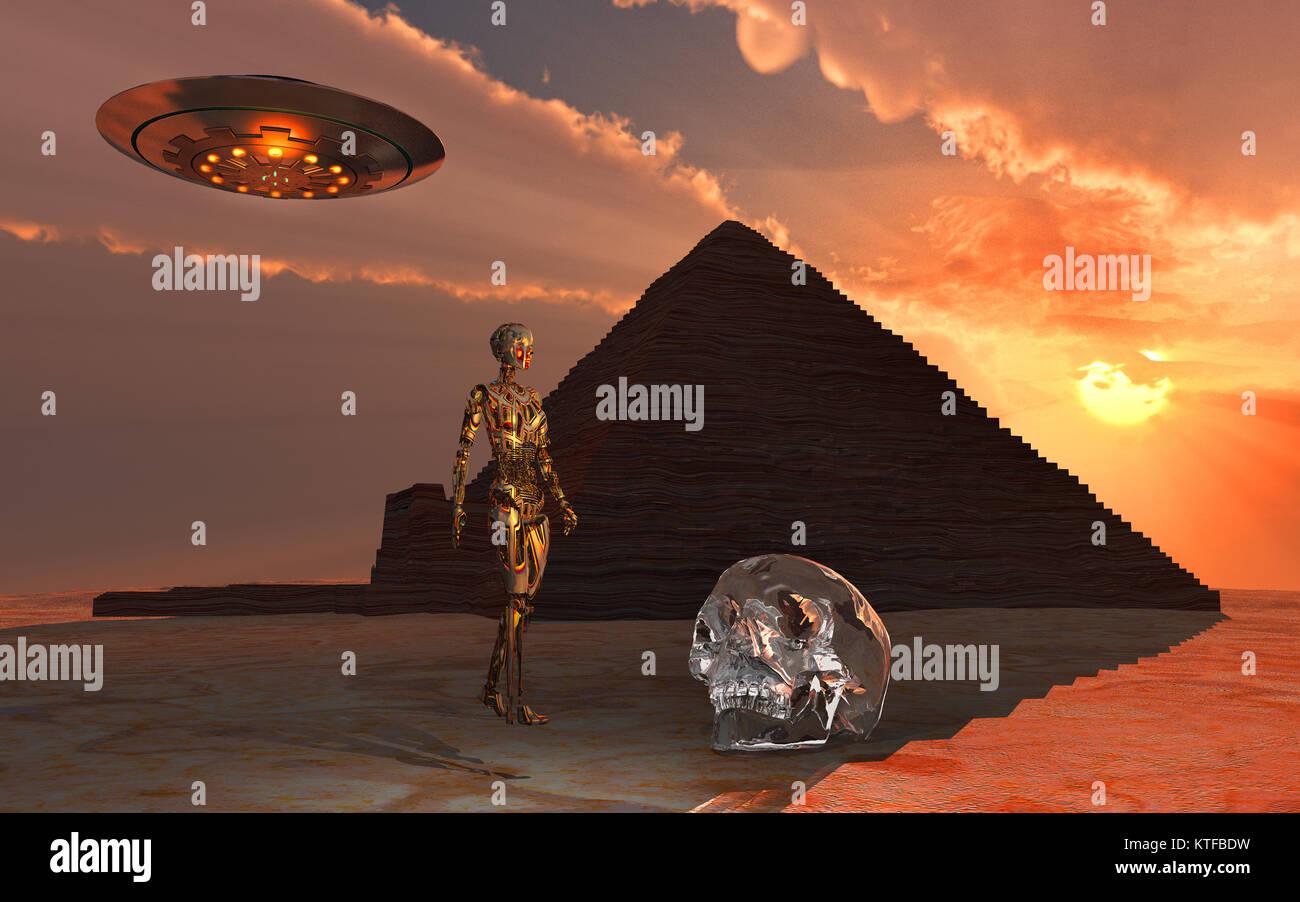 A Crystal Skull & Ancient Aliens - Stock Image