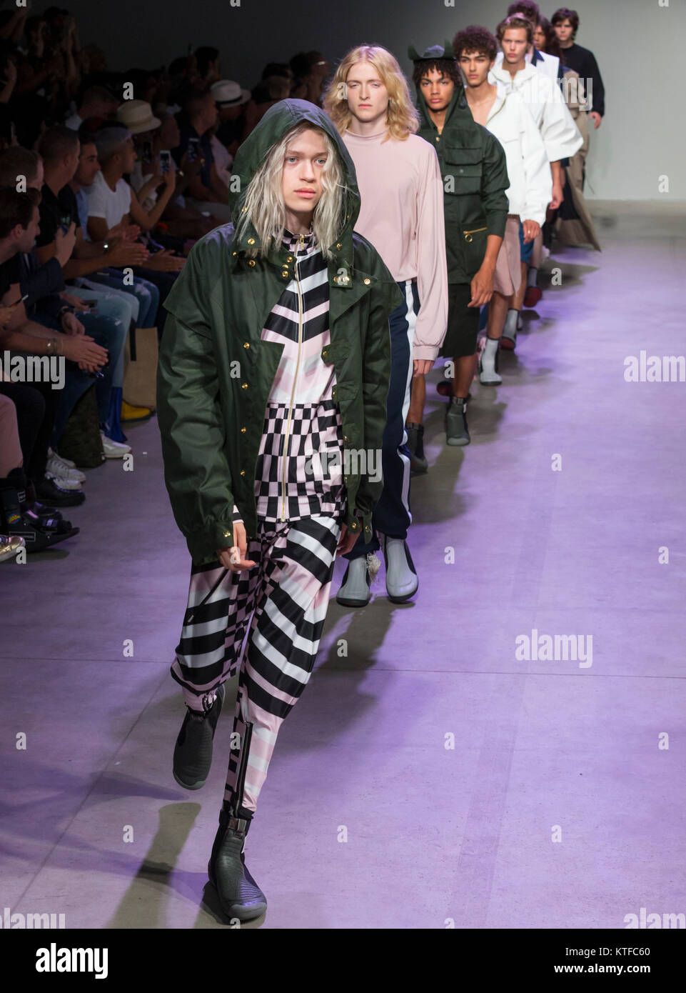 NEW YORK, NY - July 11, 2017: Models walk the runway at the N-P-Elliott Show during New York Fashion Week Men's - Stock Image