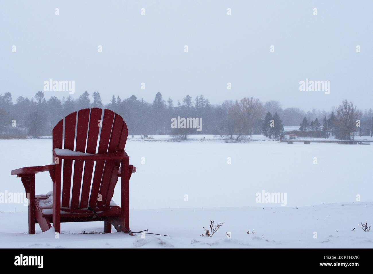 A single red deck chair, snow covered, at the edge of Dow's Lake, during a snow storm, Ottawa, Ontario, Canada. - Stock Image