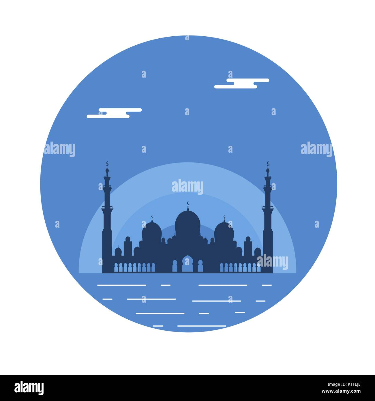 United Arab Emirates. Sheikh Zayed Mosque silhouette. Abu dhabi. Design for banner, poster or print. - Stock Image