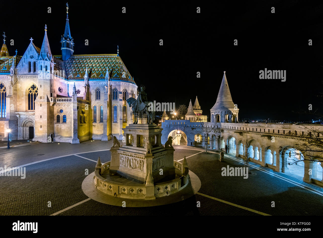 Fishermans bastion at night in Budapest - Stock Image