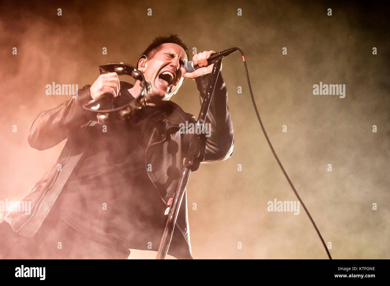 The American industrial rock band Nine Inch Nails performs a live concert at Oslo Spektrum. Here vocalist and songwriter - Stock Image