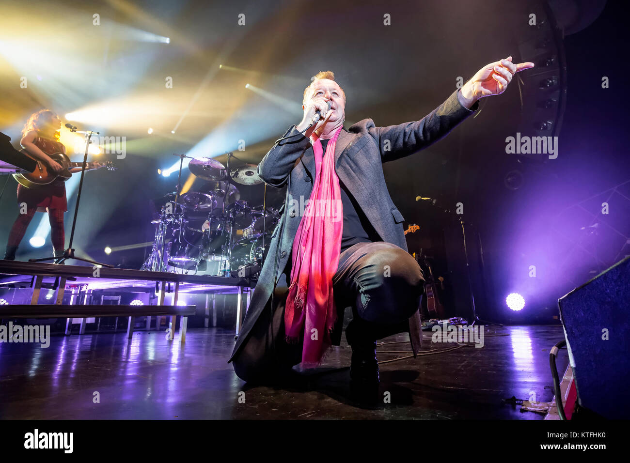 The Scottish rock band Simple Minds performs a live concert at Sentrum Scene in Oslo. Here singer, songwriter and - Stock Image