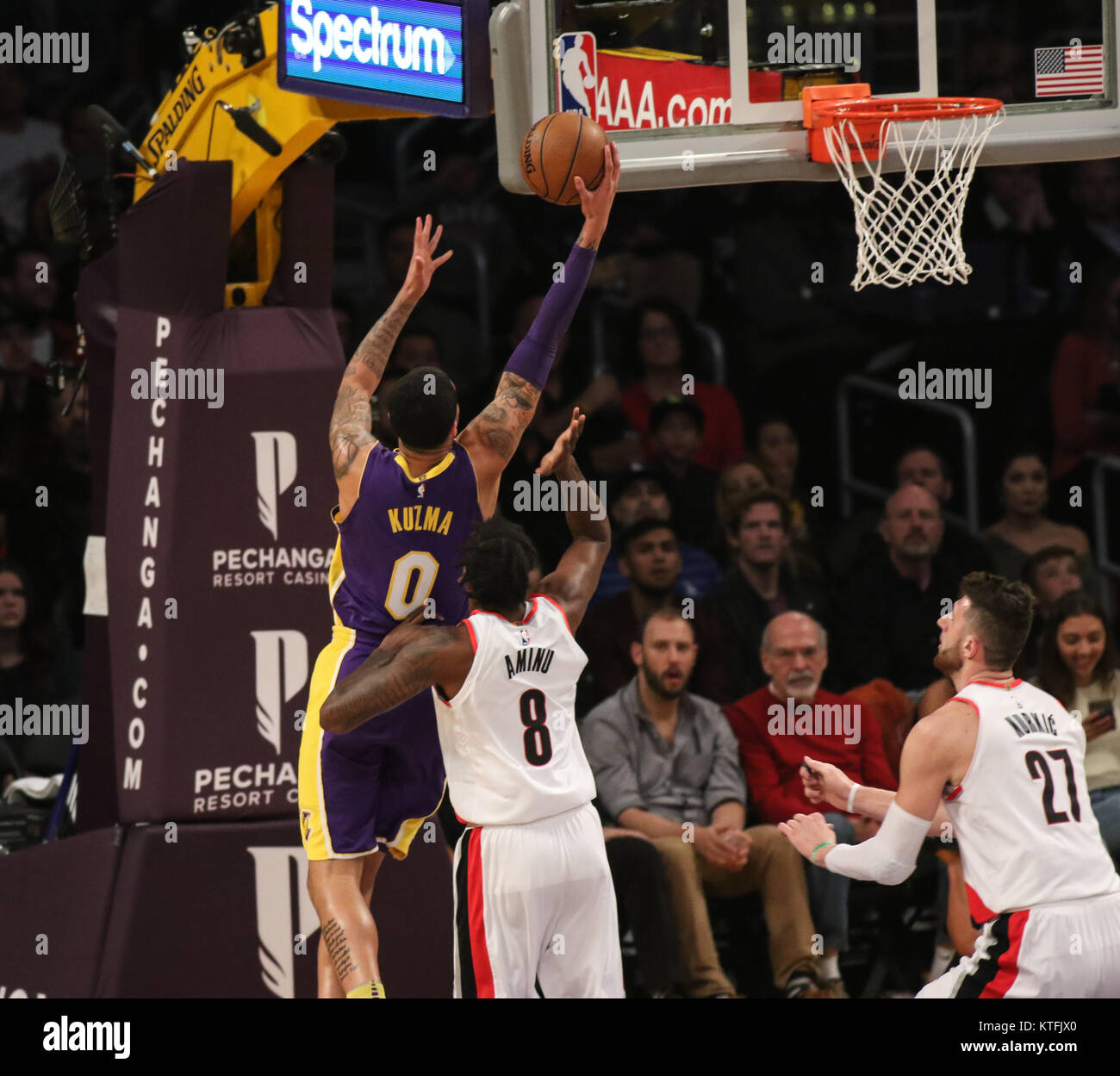 Los Angeles, CA, USA. 23rd Dec, 2017. Los Angeles Lakers forward Kyle Kuzma (0) going to the basket during the first Stock Photo