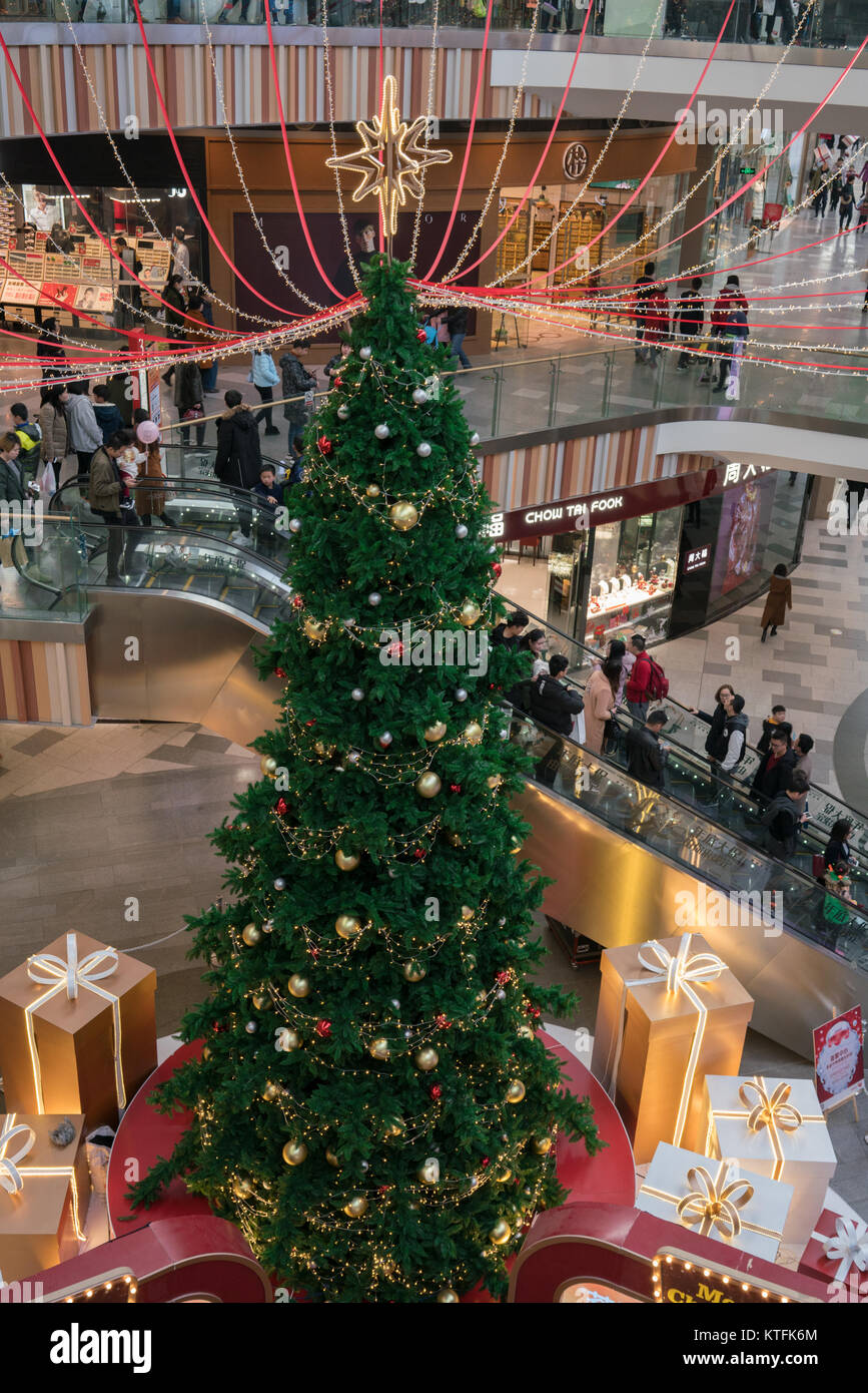 Wuhan Hubei China, 24 December 2017: Christmas tree and decorations inside Livat modern shopping mall in China on - Stock Image
