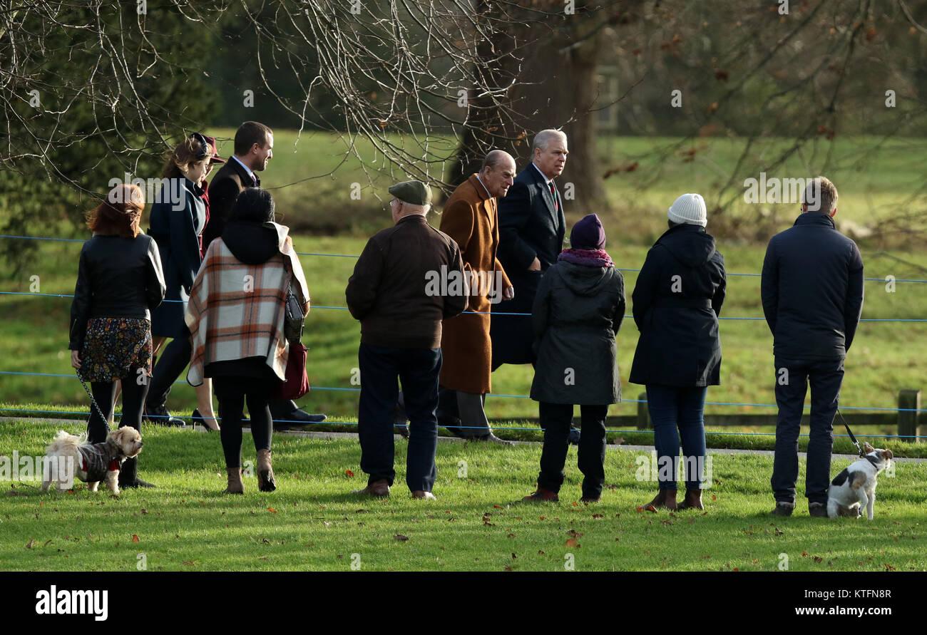 Norfolk, UK. 24th Dec, 2017. Prince Philip, Duke of Edinburgh, and Prince Andrew (Duke of York), arrive for the - Stock Image
