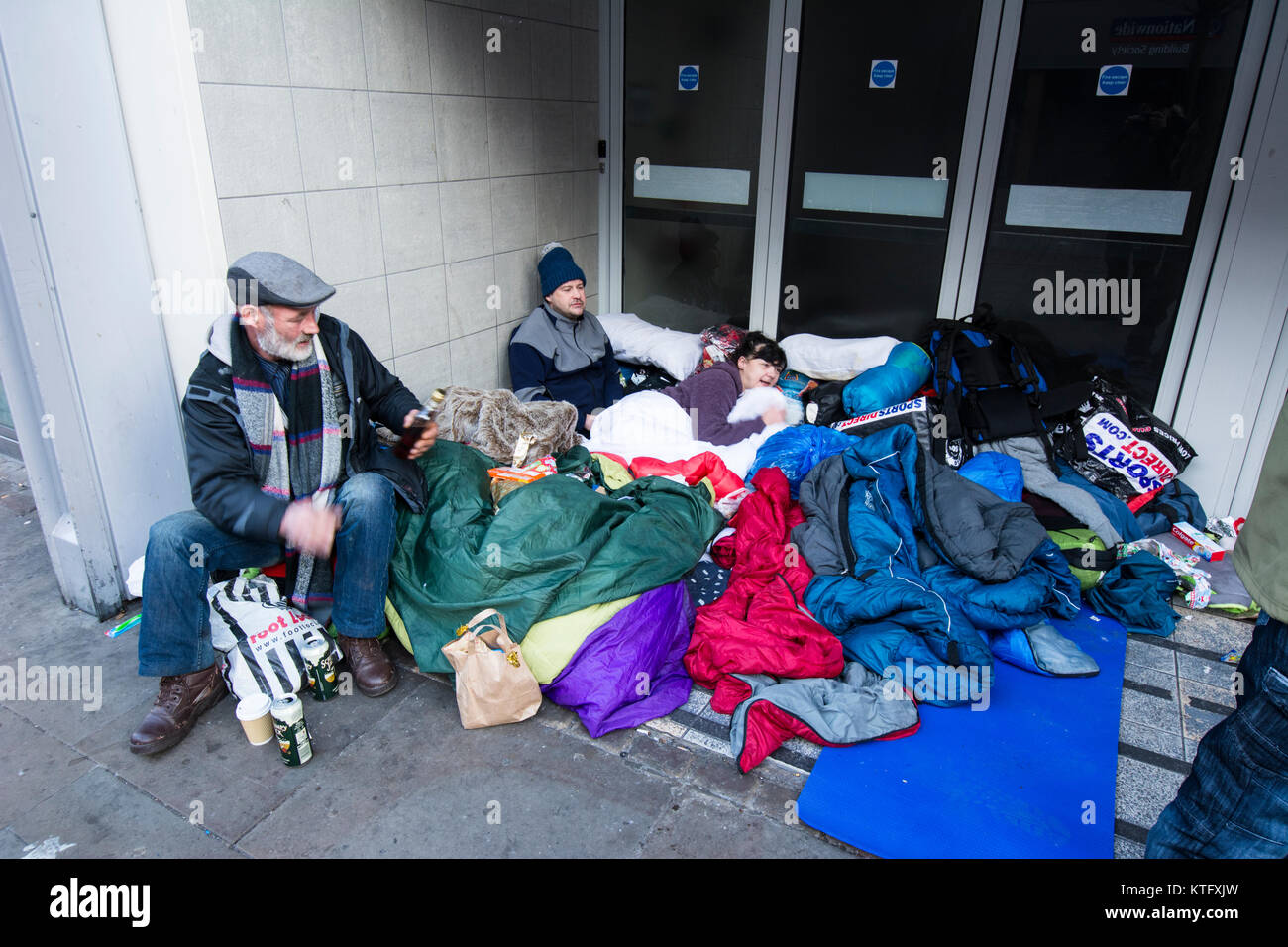 Manchester UK; 25th. December 2017: Manchester rough sleepers in Manchester on Christmas Day. Scores of homeless - Stock Image