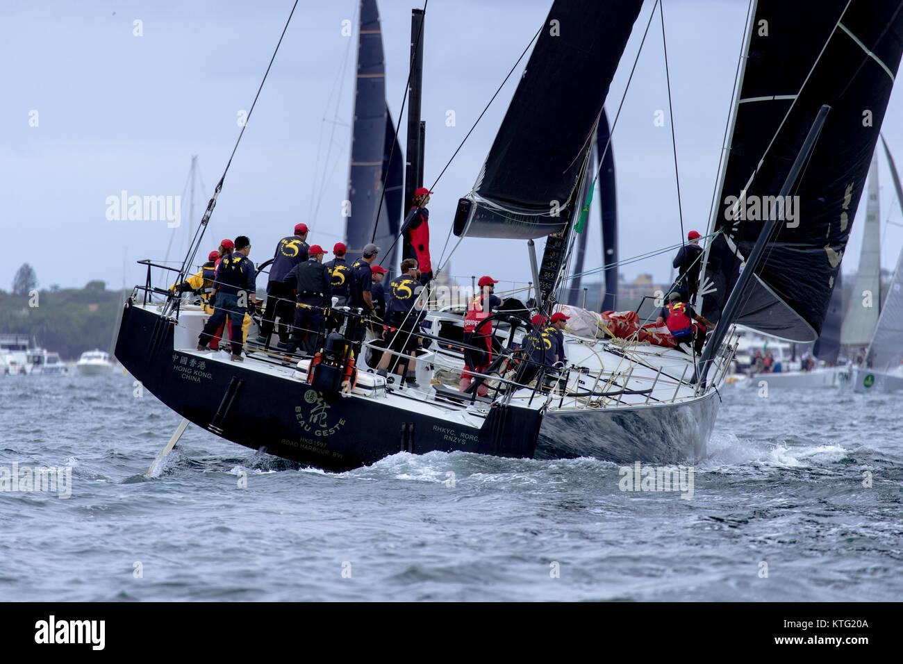 Sydney, Australia. 26th December 2017. Rolex Sydney to Hobart Yacht Race 2017. Hong Kong owned Beau Geste pre race. - Stock Image
