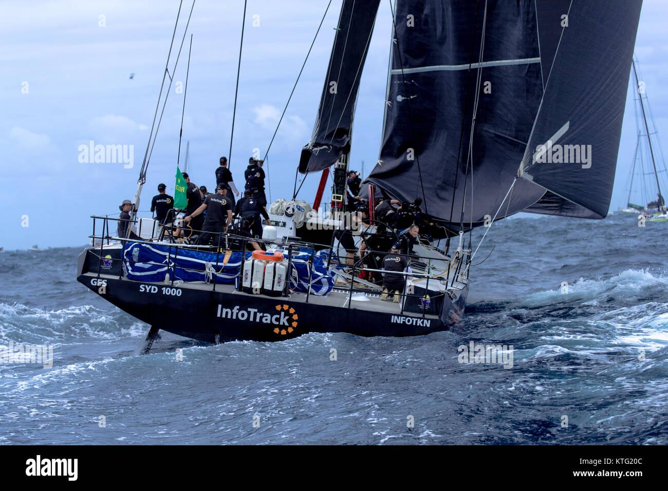 Sydney, Australia. 26th December 2017. Rolex Sydney to Hobart Yacht Race 2017. InfoTrack being skippered by Tom - Stock Image