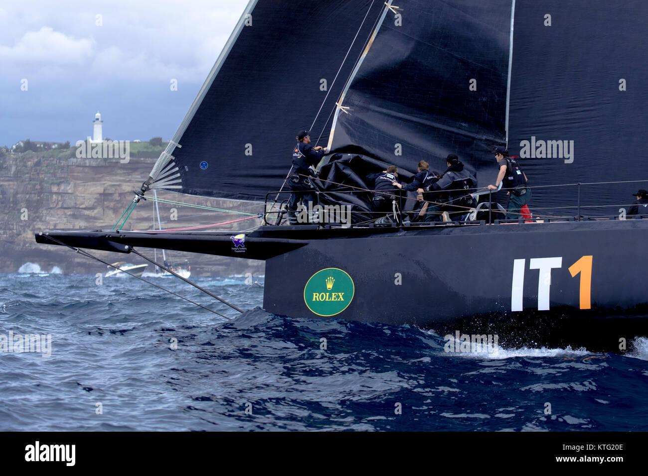 Sydney, Australia. 26th December 2017. Rolex Sydney to Hobart Yacht Race 2017. Teamwork with Infotrack. Anthony - Stock Image