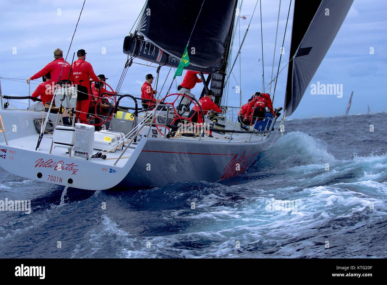 Sydney, Australia. 26th December 2017. Rolex Sydney to Hobart Yacht Race 2017. Wild Oats X has seen a lot of miles - Stock Image