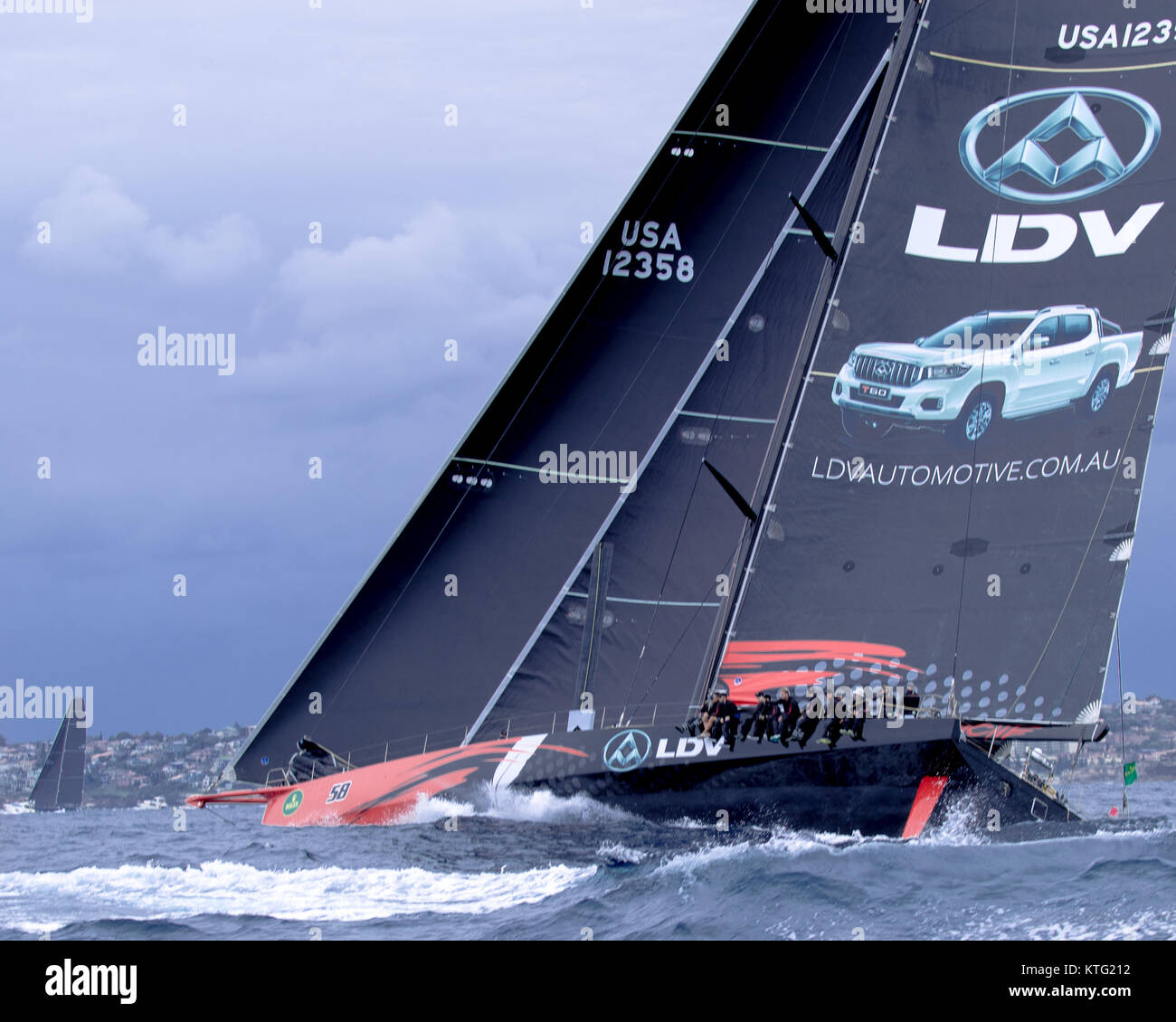 Sydney, Australia. 26th December 2017. Rolex Sydney to Hobart Yacht Race 2017. One of the favourites - LDV Comanche. - Stock Image